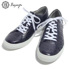 BajoLugo バジョルゴ おとこのブランドHEROES 掲載 スニーカー シューズ クロコダイル レザー 靴 ネイビー MENS メンズ 送料無料