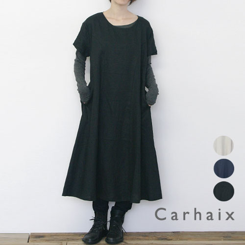 Carhaix キャレ リネン Aライン 半袖 ワンピース