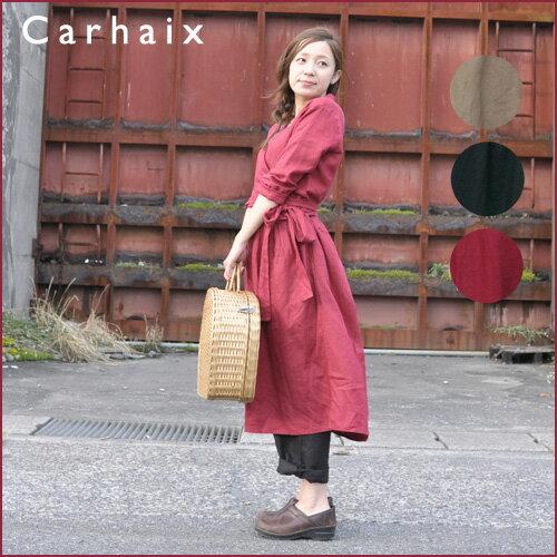 Carhaix キャレ リネン カシュクール風 ワンピース