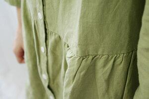【あす楽がいつでも送料無料】Carhaixキャレコットンリネン丸衿シャツワンピース