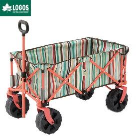 LOGOS ロゴス アウトドア キャリーカート 4輪 折りたたみ ワンタッチ おすすめ 大型 丸洗い長いモノOKキャリー ブルーストライプ AG