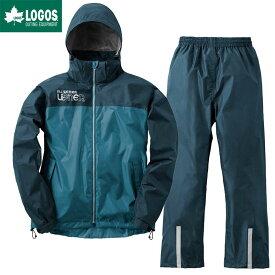 LOGOS ロゴス レインウェア 上下セット バックパック レインスーツ アディ リュック対応 自転車 ブルー L