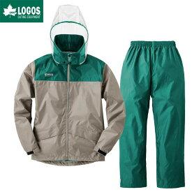 LOGOS ロゴス レインウェア 上下セット クリアフードレインスーツ ライム サンド L