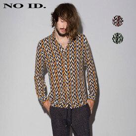 NO ID. ノーアイディー ジオメトリック ショートカラー シャツ メンズ 長袖シャツ 総柄