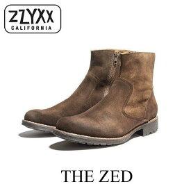ZZYXX ジージックス ブーツ シューズ 靴 クラシック レースレス スエード ジッパー レザー 本革 ブラウン 茶色 メンズ THE ZED カジュアル