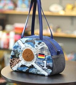《新シリーズ》【Seori Bag 】JuJuオリジナル【菊理姫の可愛いBag(ブルー系カモフラ柄、犬のブリトニー、国旗付)】ボストンバッグ/オリジナルバッグ希少可愛いコットンバッグ