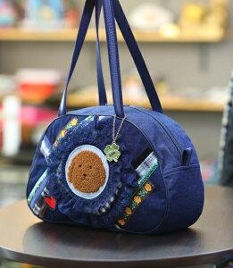 《新シリーズ》【Seori Bag 】JuJuオリジナル【菊理姫の可愛いBag(紺系チェックコラボ柄、犬のブリトニー、黄バラ付)】ボストンバッグ/オリジナルバッグ希少可愛いコットンバッグ