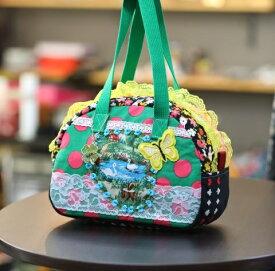 《新シリーズ》【Seori Bag 】JuJuオリジナル【飛蝶姫のBag(池の白鳥と黄色い蝶のbag)】ミニボストンバッグ/オリジナルバッグ希少可愛いコットンバッグ