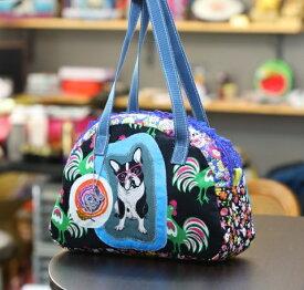 JuJuオリジナル【フレブルとニワトリのカラフルキュートBag】ボストンバッグ/オリジナルバッグ希少可愛いコットンバッグ