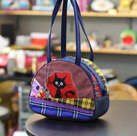JuJuオリジナル【黒猫びっくり柄、チェックコラボ柄シリーズ】ミニボストンバッグ/オリジナルバッグ希少可愛いコットンバッグ