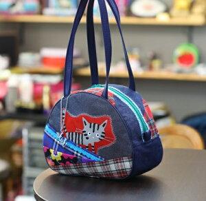 JuJuオリジナル【しま猫ブルーレース付、チェックコラボ柄】ミニボストンバッグ/オリジナルバッグ希少可愛いコットンバッグ
