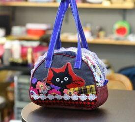 JuJuオリジナル【黒猫ビックリ柄、チェックコラボ猫シリーズ】ミニボストンバッグ/オリジナルバッグ希少可愛いコットンバッグ