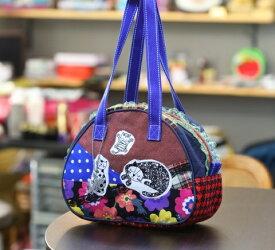 JuJuオリジナル【三匹のねこ、チェックコラボシリーズ】ミニボストンバッグ/オリジナルバッグ希少可愛いコットンバッグ