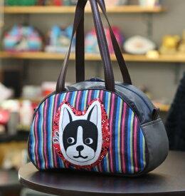 《新シリーズ》JuJuオリジナル【ワンコのドビーのITALIANバッグ】ボストンバッグ/オリジナルバッグ希少可愛いコットンバッグ