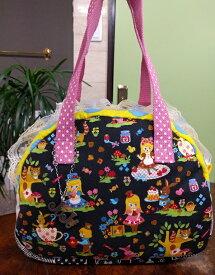 JuJuオリジナル【森のお茶会のバッグ】ミニボストンバッグ/オリジナルバッグ希少可愛いコットンバッグ