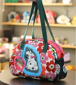 JuJuオリジナル【花いっぱい、フレブルときのこ】ボストンバッグ/オリジナルバッグ希少可愛いコットンバッグ