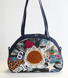 《新シリーズ》【Seori Bag 】JuJuオリジナル【菊理姫の可愛いBag(ブルー系カモフラ柄、ブリトニーとピンクのハートとキラメク星付)】ボストンバッグ/オリジナルバッグ希少可愛いコットンバッグ