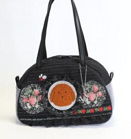 《新シリーズ》【Seori Bag 】JuJuオリジナル【菊理姫の可愛いBag(ブラック系いちごの木と赤いバラ、ブリトニー付)】ボストンバッグ/オリジナルバッグ希少可愛いコットンバッグ