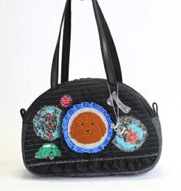 《新シリーズ》【Seori Bag 】JuJuオリジナル【菊理姫の可愛いBag(ブラック系、ロイヤルブルーレースのブリトニーとグリーンのbeetleとラッキー7)】ボストンバッグ/オリジナルバッグ希少可愛いコットンバッグ