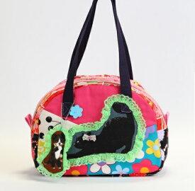 【黒猫さんの濃いピンクのコットンbag】ミニボストンバッグ/オリジナルバッグ希少可愛いコットンバッグ/入園/入学/通園バッグ/通園かばん/子供 子ども キッズ こども 小学校 小学生 通学 通園 バッグ