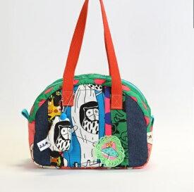 JuJuオリジナル【ふくろうときのこのjujuコットンbag】ミニボストンバッグ オリジナルバッグ希少可愛いコットンバッグ 入園 入学 通園バッグ 通園かばん 子供 子ども キッズ こども 小学校 小学生 通学 通園 バッグ