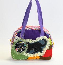 JuJuオリジナル【黒猫さんの紫のコットンbag】ミニボストンバッグ/オリジナルバッグ希少可愛いコットンバッグ 入園 入学 通園バッグ 通園かばん 子供 子ども キッズ こども 小学校 小学生 通学 通園 バッグ
