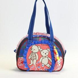 JuJuオリジナル【双子のティディベアのロイアルブルーのコットンbag】ミニボストンバッグ オリジナルバッグ希少可愛いコットンバッグ 入園 入学 通園バッグ 通園かばん 子供 子ども キッズ こども 通学 通園 バッグ