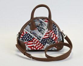 JuJuオリジナル山型コロンとした可愛いショルダーバッグ【USA, 星条旗柄】【送料無料】