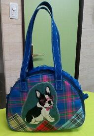 JuJuオリジナル【チェックコラボブルー系のフレブル】ミニボストンバッグ/オリジナルバッグ希少可愛いコットンバッグ