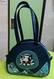 JuJuオリジナル【ジーンズオンジーンズフレンチブルドッグ柄】ミニボストンバッグ/オリジナルバッグ希少可愛いコットンバッグ