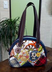 JuJuオリジナル【きのこと、パンダが、猫のコラボ】ミニボストンバッグ/オリジナルバッグ希少可愛いコットンバッグ