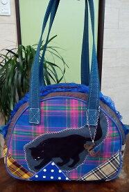 JuJuオリジナル【ブルーチェックの狙っている黒猫】ミニボストンバッグ/オリジナルバッグ希少可愛いコットンバッグ