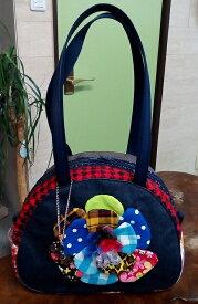JuJuオリジナル【ブルー系コットンのお花】ミニボストンバッグ/オリジナルバッグ希少可愛いコットンバッグ
