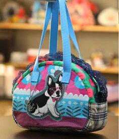 JuJuオリジナル【お花畑のフレブル】ミニボストンバッグ/オリジナルバッグ希少可愛いコットンバッグ