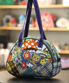 JuJuオリジナル【ウサギとこぐま、きのことチェックコラボ】ミニボストンバッグ/オリジナルバッグ希少可愛いコットンバッグ