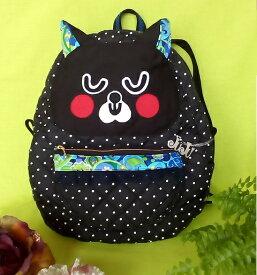 JuJuオリジナル【黒猫さんリュック ペイズリー柄水玉ポケット】バッグ/オリジナルバッグ希少可愛いリュック