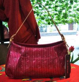 CLATHAS「クレイサス、2wayショルダーバッグ」/希少/縦縞のエナメル可愛いバッグ 定価17,600円の約26%引 税込 送料無料