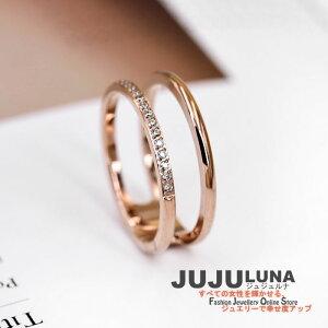 リング 指輪 シンプル 華奢 2連 チタン カワイイ レディース K18 おしゃれ CZダイヤ 記念日 自分へのご褒美 結婚式 パーティー カジュアル 大人可愛い 女性 ジュエリー アクセサリー ジュジュルナ jujuluna
