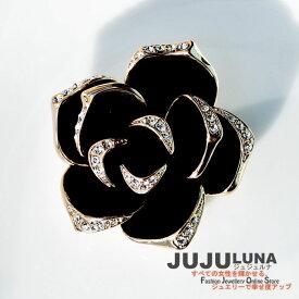 ブローチ 人気 レディース オシャレ 豪華な輝き カワイイ 知的 黒バラ 結婚式 パーティー カジュアル 大人可愛い 女性 アクセント トレンド デイリー ジュエリー アクセサリー ジュジュルナ jujuluna