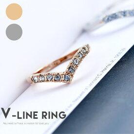 リング 指輪 レディース プレゼント 人気 シンプル V型 ピンキー シルバー K18 メッキ 上品 記念日 自分へのご褒美 結婚式 パーティー カジュアル 大人可愛い 女性 ジュエリー アクセサリー ジュジュルナ jujuluna