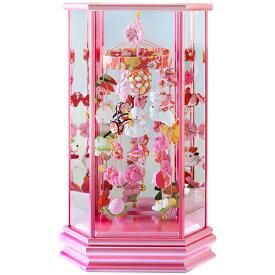 雛人形 ひな人形 つるし飾り 六角ケース飾り うさぎなでしこ ピンクケース 小サイズ おしゃれ