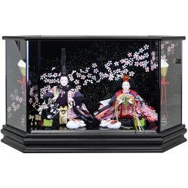雛人形 ひな人形 ケース飾り ケース コンパクト 小さい かわいい 寿慶 黒塗六角ケース飾り 流桜ラメバック おしゃれ