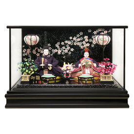 雛人形 ケース飾り おひなさま ひな人形 おしゃれ コンパクト ケース 小さい かわいい 寿慶 親王 黒塗ケース 流水桜ラメバック おしゃれ