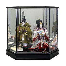 立雛 立ち雛 雛人形 ひな人形 ケース飾り コンパクト 小さい かわいい 寿慶 六角黒塗ケ−ス ミラーバック おしゃれ