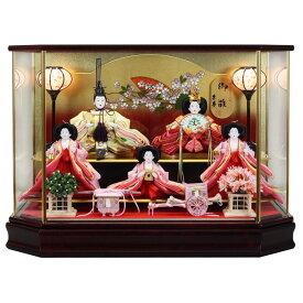 雛人形 ひな人形 ケース飾り ケース コンパクト 小さい かわいい 五人ケース飾り 寿慶 舞桜 六角ワインケース おしゃれ