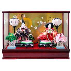 雛人形 ケース飾り おしゃれ ひな人形 コンパクト かがやき雛 かわいい ワイン塗ガラスケース オルゴール付