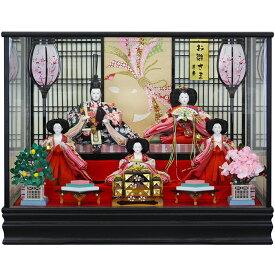 雛人形 ひな人形 雛 ケース飾り コンパクト 五人ケース飾り オルゴール付き 黒木目調ケース おしゃれ
