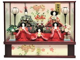 雛人形 ひな人形 五人ケース飾り ワイン塗ケース オルゴール付き おしゃれ