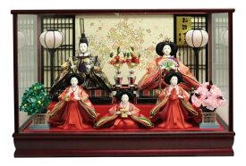 雛人形 ひな人形 五人ケース飾り ワイン塗ケース 格子バック おしゃれ