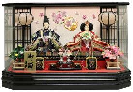雛人形 ひな人形 親王ケース飾り 黒塗六角アクリルパノラマケース 刺繍格子バック おしゃれ